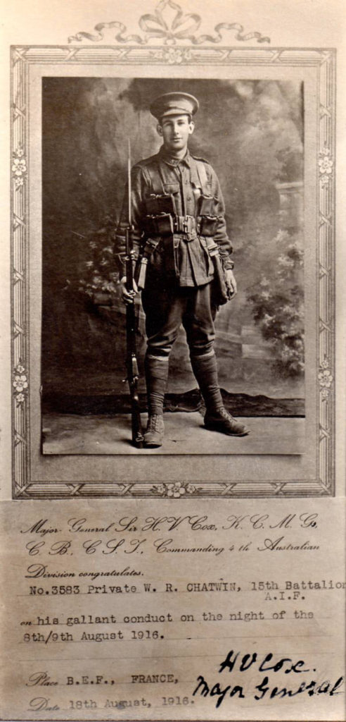 Private William Raymond Chatwin - 3583 - 15th Battalion - KIA 31 Dec 1916 -Divisional Congratulatory Card