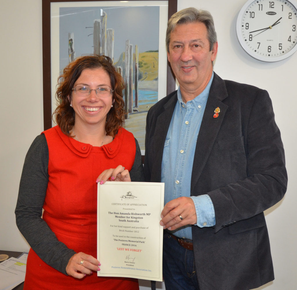 A certificate of appreciation was presented to The Hon Amanda Rishworth MP